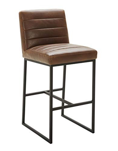 Rivet Decatur Modern Kitchen Counter Bar Stool with Back, 42 Inch Height, Brown Top Grain Leather