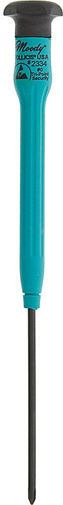 Moody Tools 51-2334 Chromium Vanadium Steel Tri-Point Screwdriver, ESD Handle, #0 Head