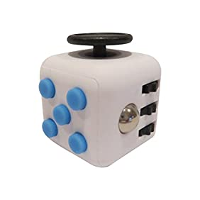 Fidget Cube Dice Stress and Anxiety Relief White With Blue Buttons
