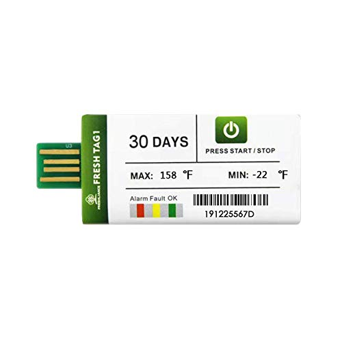 20pack Freshliance Fresh Tag 1 Single Use USB Temperature Data Logger 30 Days 20 Pack Pdf Report Recorder Disposable Waterproof for Cold Chain Transport No Setup No Software