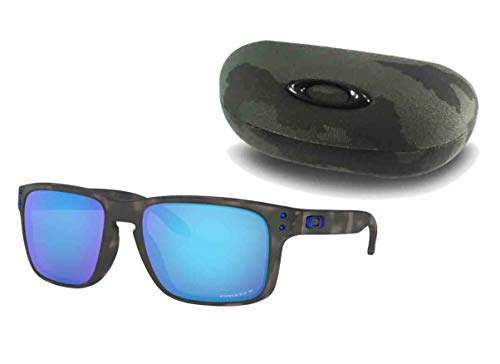 Oakley Holbrook Asian Fit (Matte Black Tortoise Frame, Prizm Sapphire Polarized Lens) with Oakley Ellipse O Hard Case in Green ()