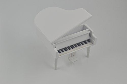 Wooden Piano Music Box Style 18 Tones Grand Gifts for Birthday Classical Nice Music Box (White)