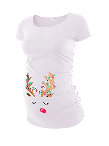 Liu & Qu Womens Maternity Classic Side Ruched T-Shirt Tops Mama Pregnancy Clothes Christmas elk Print
