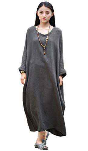 Soojun Women's Casual Cotton Linen Long Dress with Batwing Sleeve, Style 2:dark Olive Green, One Size