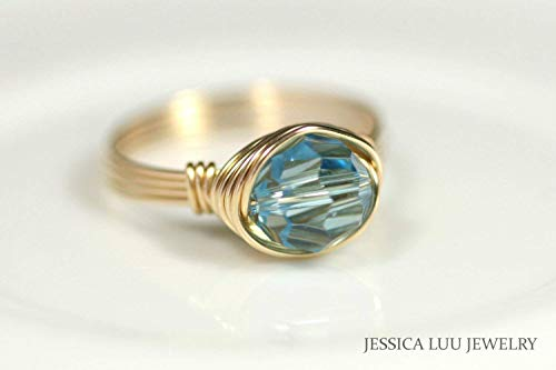 (Gold Aquamarine Swarovski Crystal Ring Wire Wrapped Ring Choice of Yellow or Rose Gold )