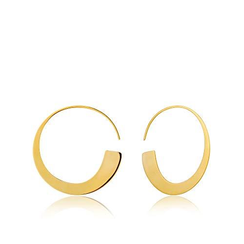 - 925 Sterling Silver Statement Geometric Minimalist Thin Art Deco Geo Hoop Earrings, 14K Gold Plated