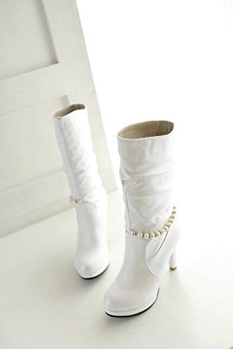 YFF Weihnachtsgeschenke für Frauen Stiefel High Heels pu-Gummi unten komfortabel und einzigartig White