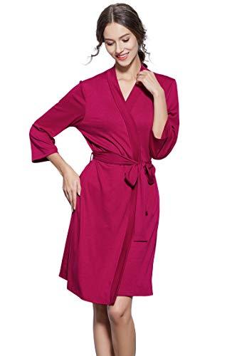Womens Robe Lightweight Bathrobe Soft Cotton Bath Robe Sleepwear Loungewear