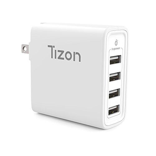 4-port USB Fast Wall Charger (40Watt) w/I+power High speed chip& foldable travel plug, Tizon Voyage for iPhone X, 8/8Plus, 7/7Plus, iPad Pro/Air 2, iPad mini 3,Samsung S8/S7/Edge/Plus&more - Ipod Shuffle Wall Charger