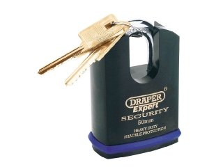 (Draper 64197 Expert 50Mm Heavy Duty Electric Plated Stainless Steel Padlock & 2 Keys With Super Tough Molybdenum Steel Shrouded Shackle & Replaceable Six Pin Cylinder )