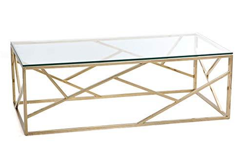 PEÑA VARGAS - Wedecore - Mesas de Centro Modernas - Mesa Cristal/Acero Dorado (120x60)