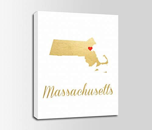 456Yedda Canvas Print Massachusetts Massachusetts Gold Color Print Massachusetts Map Personalized Art Typography Nursery Art Bedroom Bathroom Decoration Wall Art Wall Decor