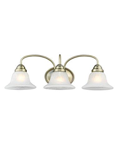 Livex Lighting 1533-01 Edgemont 3 Light Vanity  Antique Brass with White Alabaster Glass ()