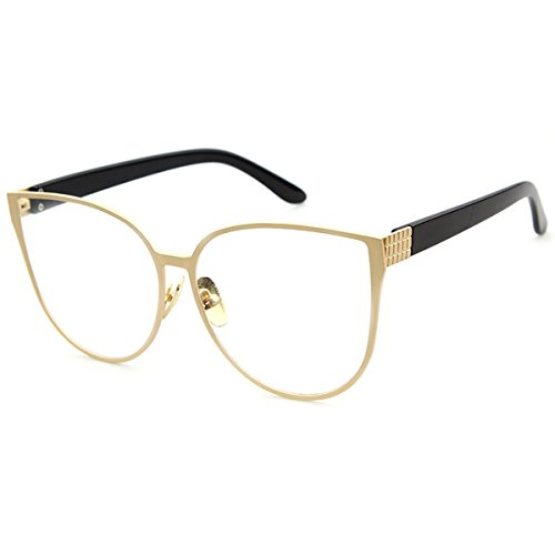 LKEYE Oversized Cat eye Sunglasses Metal Frame Mirror Lens Eyewear LK1704 Gold Frame/Clear lens (No Prescription Color Contacts)