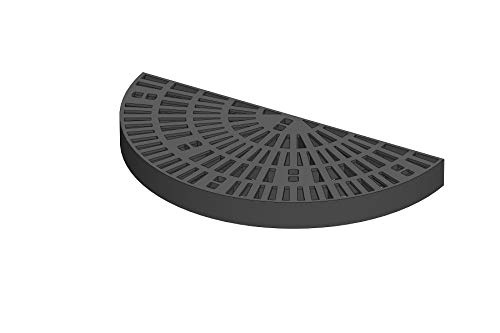 15 Inch x 30 Inch Half Circle Heavy Duty Fountain Basin Grate - for Pond and Water Garden Features and More - Hides Reservoirs - Holds Bubblers, Rocks, Other Decorations - Will Not Rust - Black