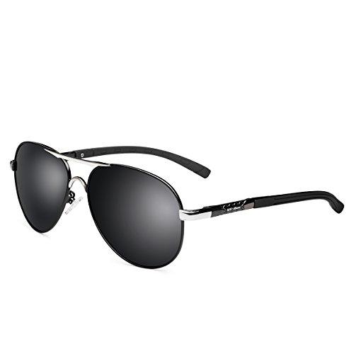 UV-BANS Mens Womens Aviator Sunglasses Polarized UV400 Black Lens,Classic Ultralight Unbreakable Frame for Fishing - Worn Celebrities Glasses By