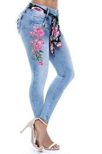 Pantaloni Jeans Donne Ricamata Calzamaglia Jeans Zinmuwa Le Blu Angosciato FyCqFPc