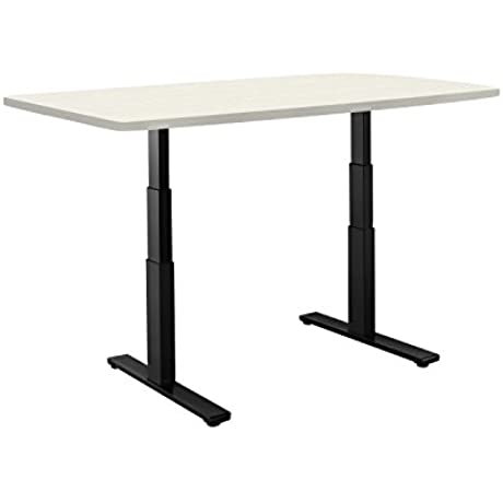 Autonomous Classic Sit To Stand Desk With Black Frame Oak Veneer Top