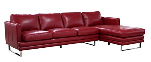 Lazzaro Leather Melbourne Collection WH-1003-31-34-3375 Berry Red Leather LSF Sofa & RSF Chaise