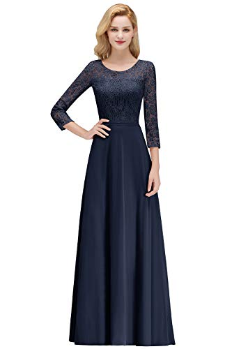 MisShow Formal Wedding Guest Dresses for Women Maid of Honor Dresses for Party Wedding,NavyBlue,4 (Best Maid Of Honor Dresses)