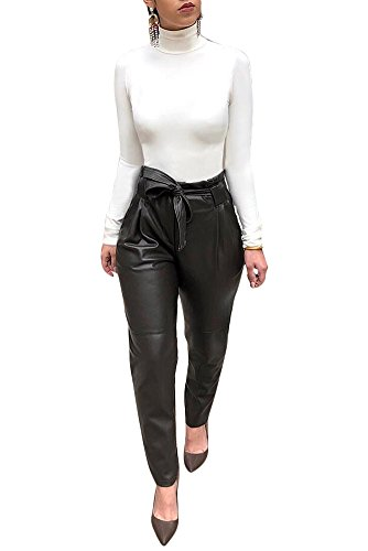 Fadvanes Womens Sexy Black PU Faux Leather Long Pants Trousers With Belt L by Fadvanes (Image #4)