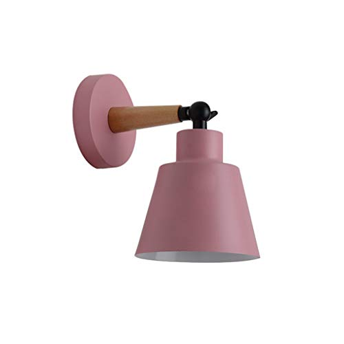 Chenway Bedside Lamp Wall LED Mounted Living Room Aisle Lamp Shade Swing Sconce Light Bedroom Lighting Bedside Reading Lamp (Without Bulb) (Pink)