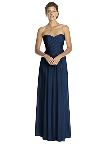 (Dessy Women's Full Length Strapless Lux Chiffon Dress w/Sweetheart Neckline by, Midnight Size 14)