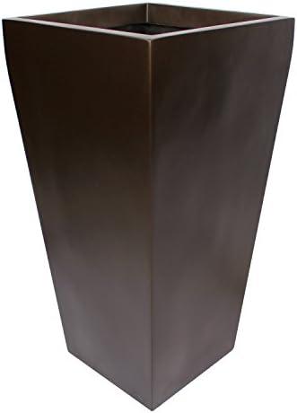 Edinburgh Tall Square Fiberglass Planter L 18 x W 18 x H 36 , Metallic Brown