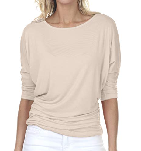 iliad USA 7001 Womens Boat Neck 3/4 Sleeve Drape Dolman Top with Side Shirring Taupe 2XL