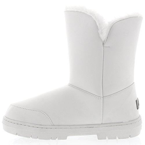 Damen Twin Button Wasserdichte Winter Schneeschuhe Weißes Leder