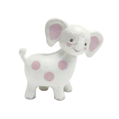 Bunnies By The Bay Peanut Elephant Teether, White with Pink Polka Dots by Bunnies by the Bay
