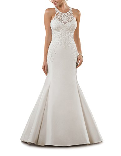 (CJMY Women's Bodice Bridal Gowns 2019 High Scoop Neck Sleeveless Mermaid Lace Satin Princess Empire Wedding Dress for Bride Ivory 2)