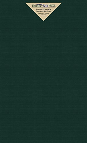 25 Dark Green Linen 80# Cover Paper Sheets - 8.5