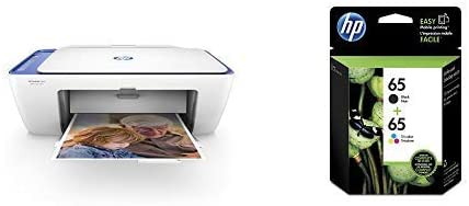 White HP DeskJet 2655 All-In-One Compact Printer with Built in WiFi /& Airprint