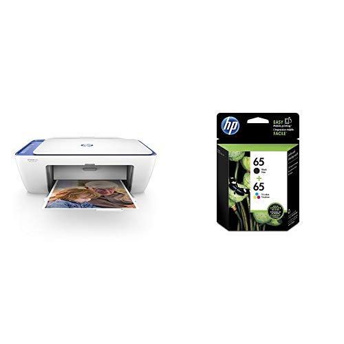 HP DeskJet 2655 All-in-One Compact Printer, HP Instant Ink & Amazon Dash Replenishment ready - Noble Blue(V1N01A) with Std Ink Bundle