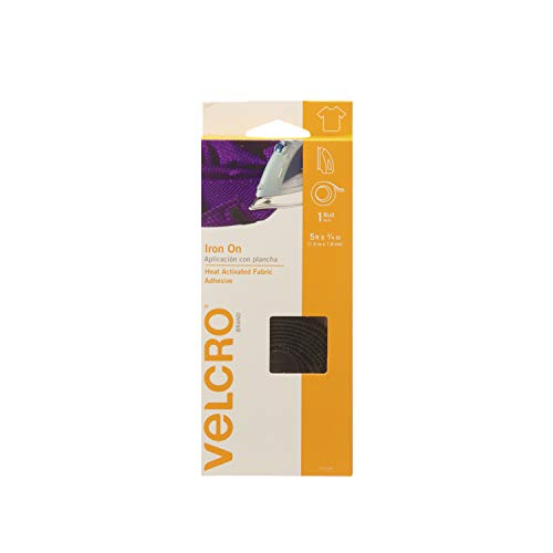 (VELCRO Brand for Fabrics | Iron On Tape for Alterations and Hemming | No Sewing or Gluing | Heat Activated for Thicker Fabrics | Cut-to-Length Roll, 5 ft x 3/4 in, Black )