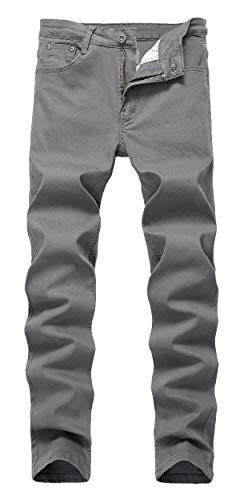 Qazel Vorrlon Men's Dark Grey Skinny Jeans Stretch Washed Slim Fit Straight Pencil Pants,Dark Grey,W31