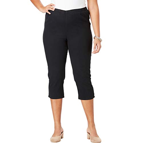 Roamans Women's Plus Size Pull-On Stretch Denim Capri Jean - Black Denim, 22 W ()