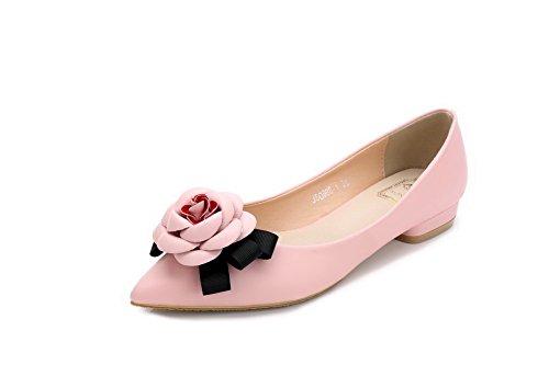 AalarDom Damen Weiches Material Spitz Zehe Niedriger Absatz Ziehen Auf Pumps Schuhe Pink