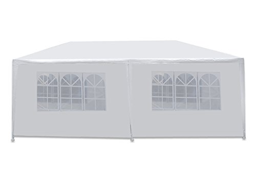 Zeny 10 X 20 Outdoor Wedding Party Tent Camping Shelter Gazebo Canopy with Sidewalls Easy Set Gazebo BBQ Pavilion Canopy Cater Events, white (Gazebo Shelter)