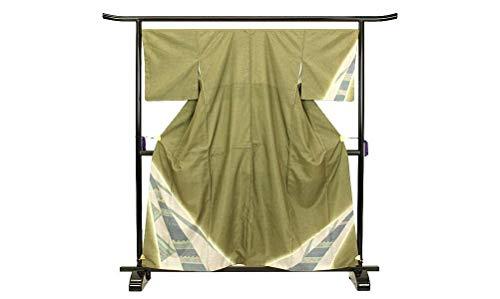 大島紬 染大島 幾何学 深緑色 カジュアル シック 上品 正絹 着物 きもの リサイクル レディース 90014790
