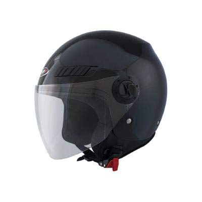 Shiro Casco Jet SH62, GS, color negro mate, tamaño L
