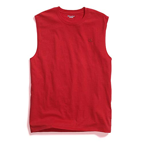 Champion Men's Classic Jersey Muscle T-Shirt, Scarlet, XL