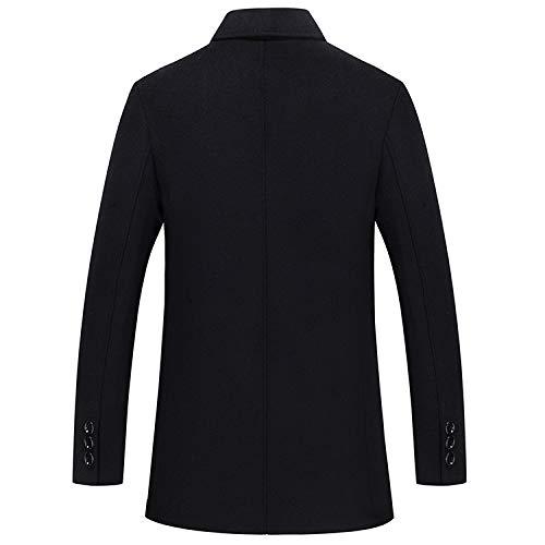 En Business Hiver Outwear Homme Simple Élégant Black Boutonnage Jacket Laine Coat Pardessus Pea Court Manteau Chaud 0wXRwq