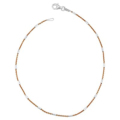 Two-Tone Sterling Silver Bar Station Anklet (10 inch)