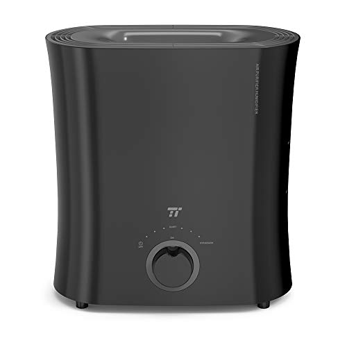 TaoTronics TT-AH001 Cool Mist Ultrasonic Humidifiers for Home Bedroom, Quiet Operation, LED Display, with Filter, Waterless Auto Shut-Off, Black-(4L/1.06 Gallon, US 110V)