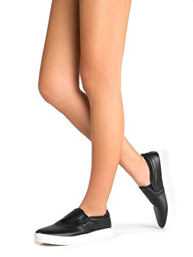 Zapatilla Deportiva J. Adams De Punta Redondeada - Adorable Zapato De Purpurina Acolchado - Easy Everyday Fashion - Glimmer De Black Pu