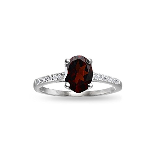 Topaz Crown Ring (Sterling Silver Garnet and White Topaz Oval Crown Ring, Size 10)