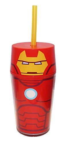 Zak Designs AVNT-R050 Avengers Assemble Iron Man Double Walled Icon Tumbler, 14 oz, Multicolor -