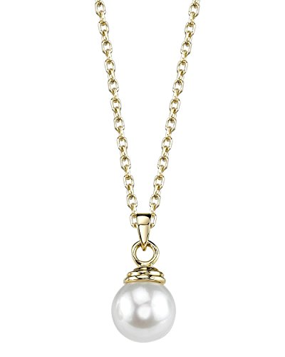 THE PEARL SOURCE 14K Gold 8-8.5mm AAA Quality Round White Akoya Cultured Pearl Hope Pendant Necklace for Women